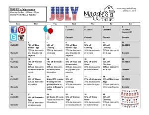 July 2015 Sales Calendar