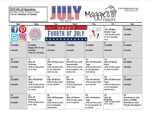July 2016 Sales Calendar