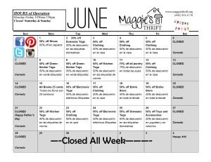 June 2015 Sales Calendar