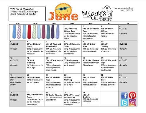 June 2016 Sales Calendar