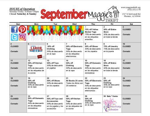 September 2016 Sales Calendar
